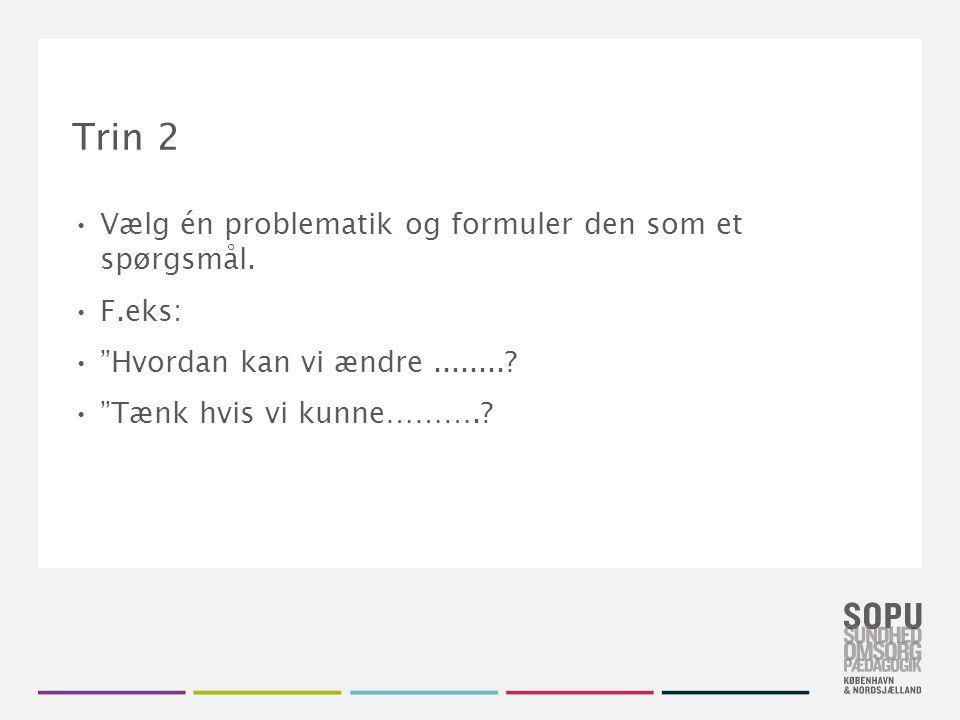 Trin 2 Vælg én problematik og formuler den som et spørgsmål. F.eks: