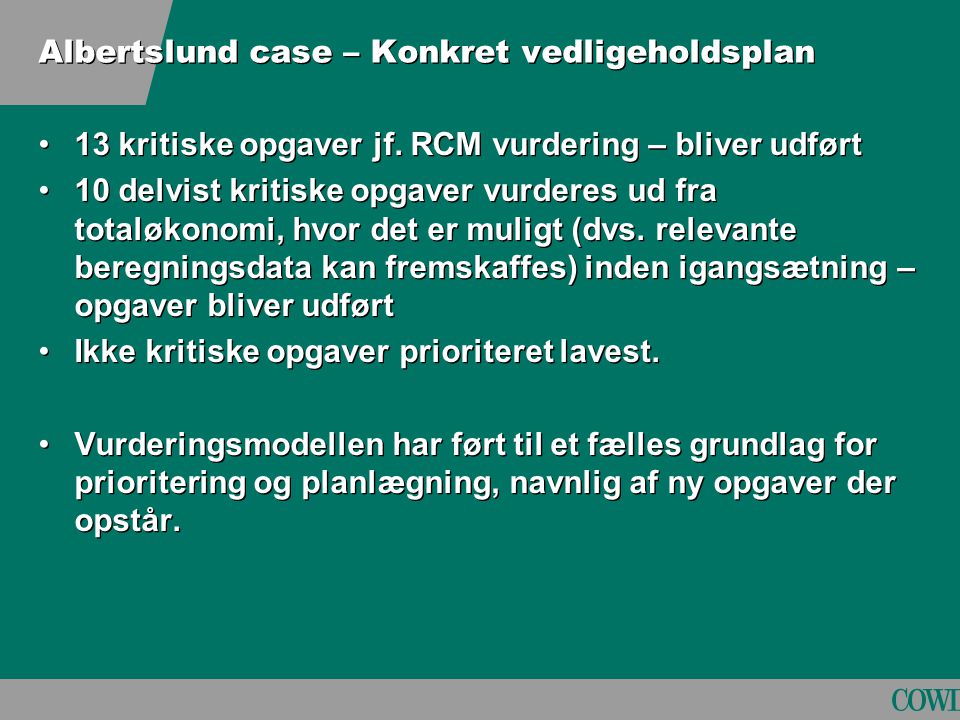 Albertslund case – Konkret vedligeholdsplan