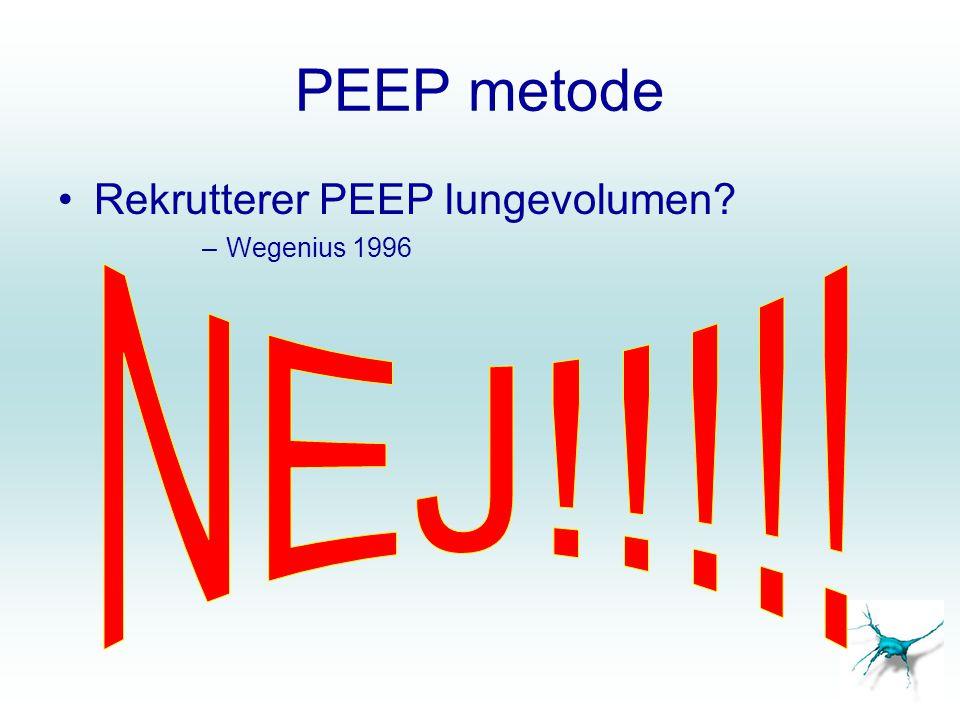 PEEP metode Rekrutterer PEEP lungevolumen Wegenius 1996 NEJ!!!!!