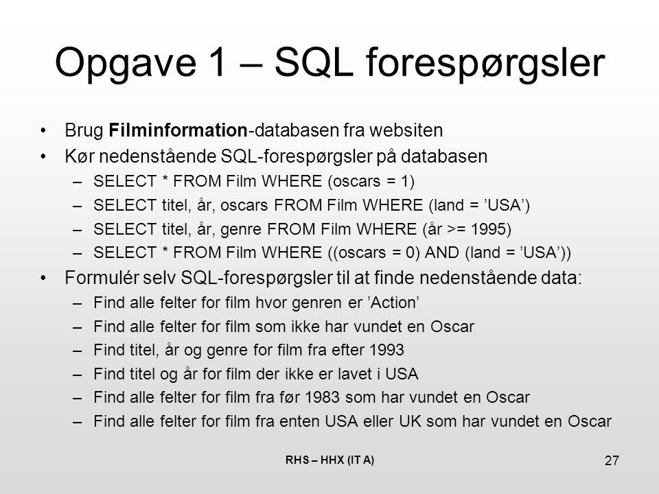 Opgave 1 – SQL forespørgsler