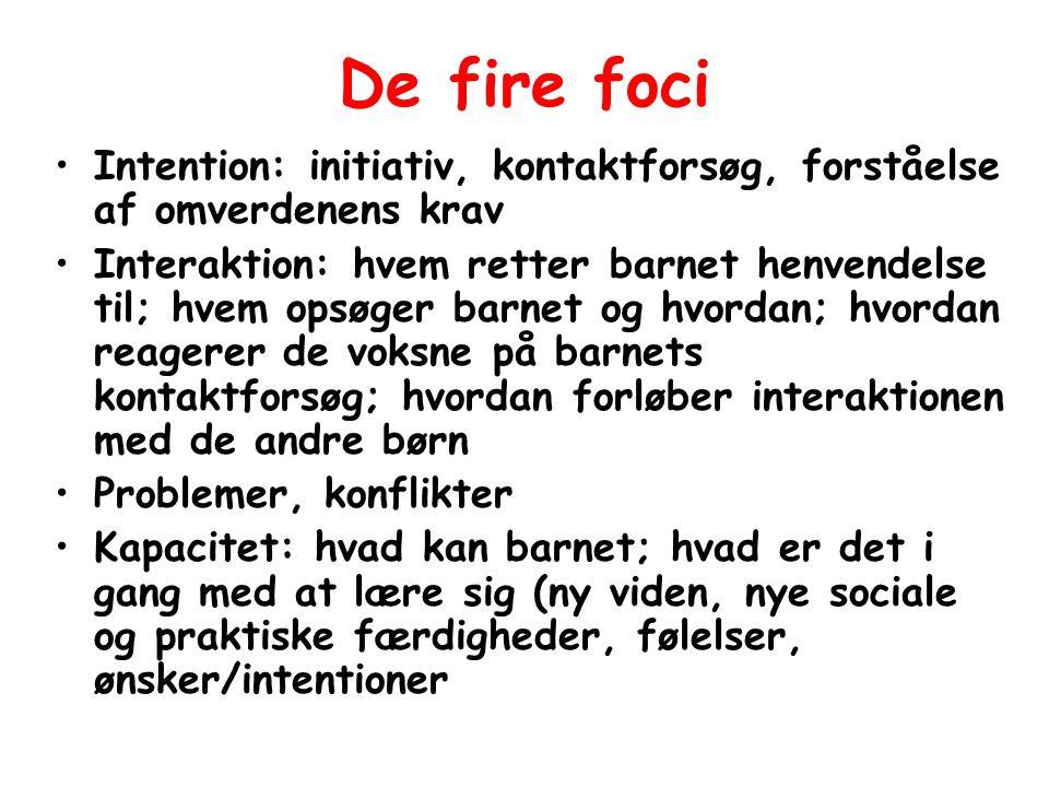 De fire foci Intention: initiativ, kontaktforsøg, forståelse af omverdenens krav.