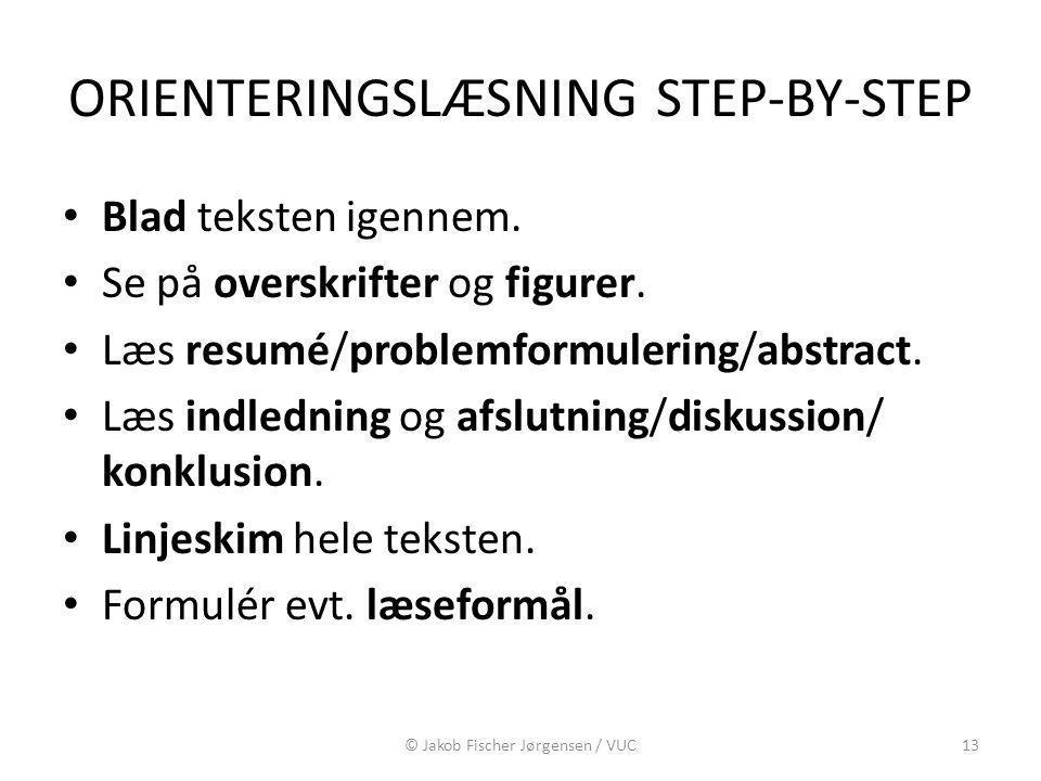 ORIENTERINGSLÆSNING STEP-BY-STEP