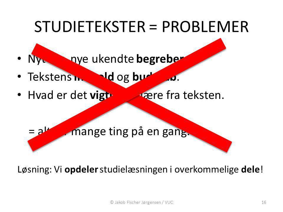 STUDIETEKSTER = PROBLEMER