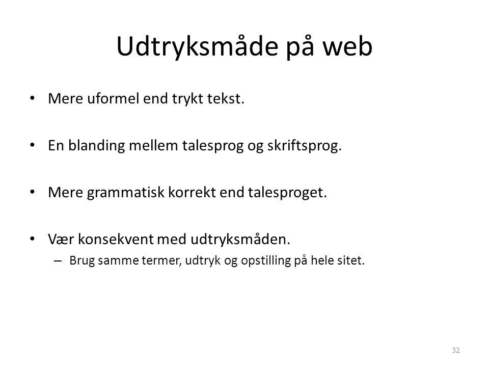 Udtryksmåde på web Mere uformel end trykt tekst.