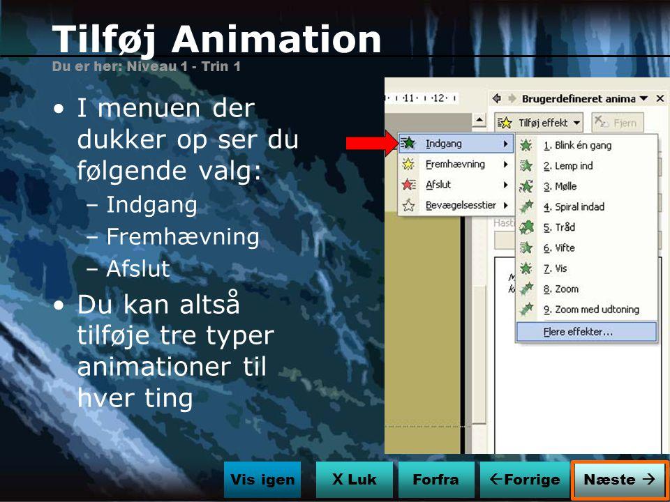 Tilføj Animation I menuen der dukker op ser du følgende valg: