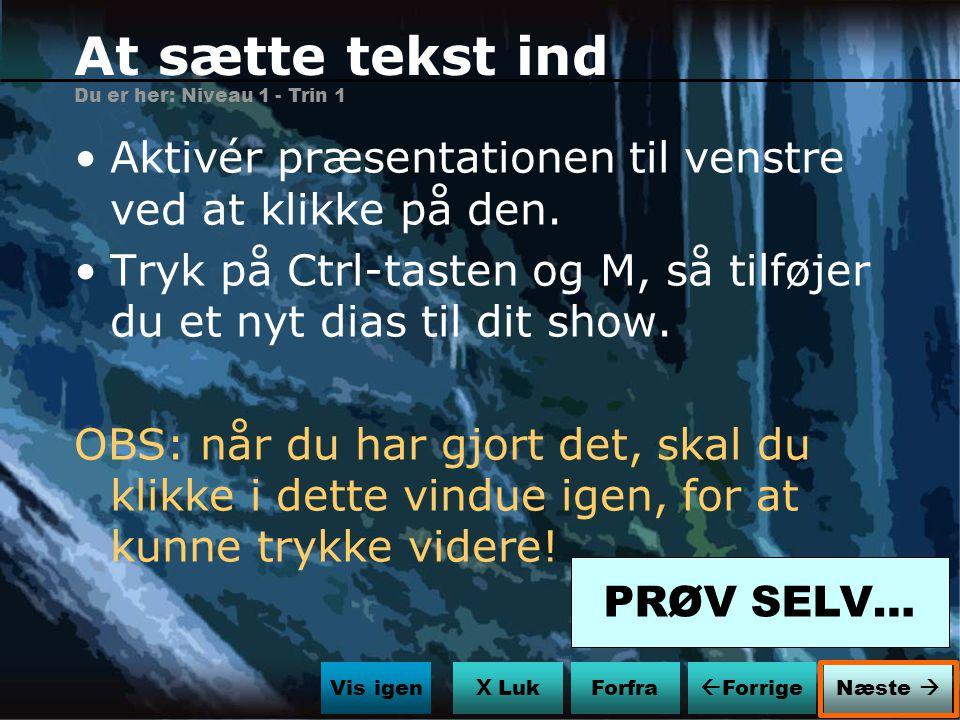 At sætte tekst ind Du er her: Niveau 1 - Trin 1. Aktivér præsentationen til venstre ved at klikke på den.