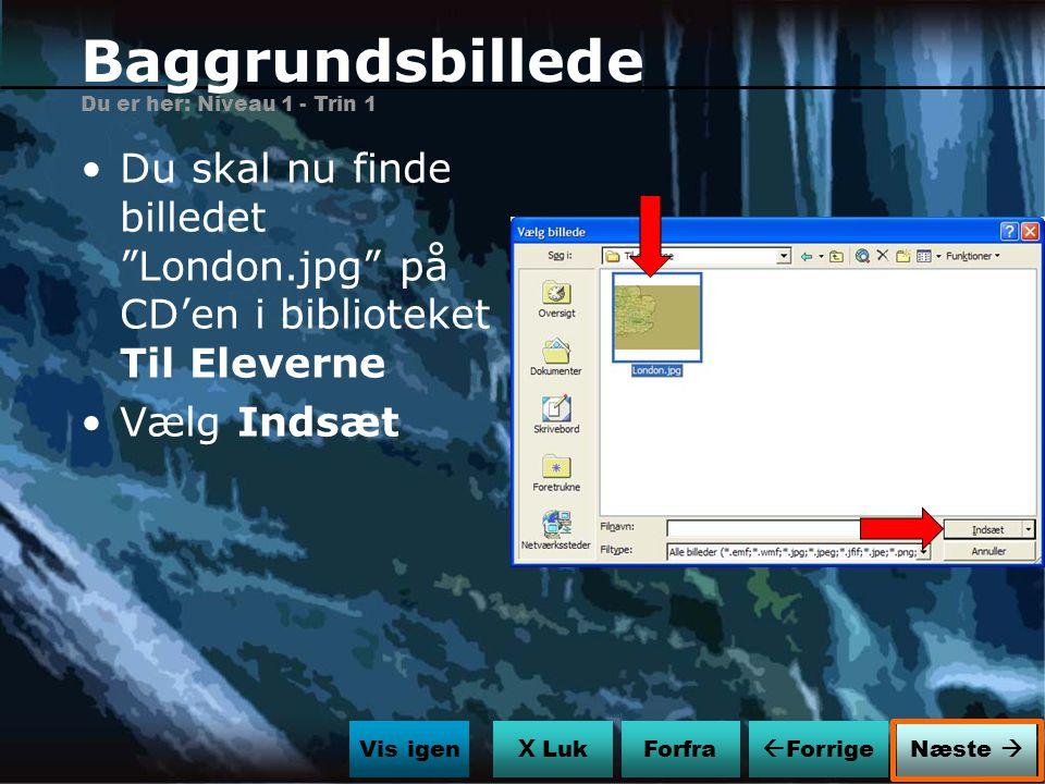 Baggrundsbillede Du er her: Niveau 1 - Trin 1. Du skal nu finde billedet London.jpg på CD'en i biblioteket Til Eleverne.