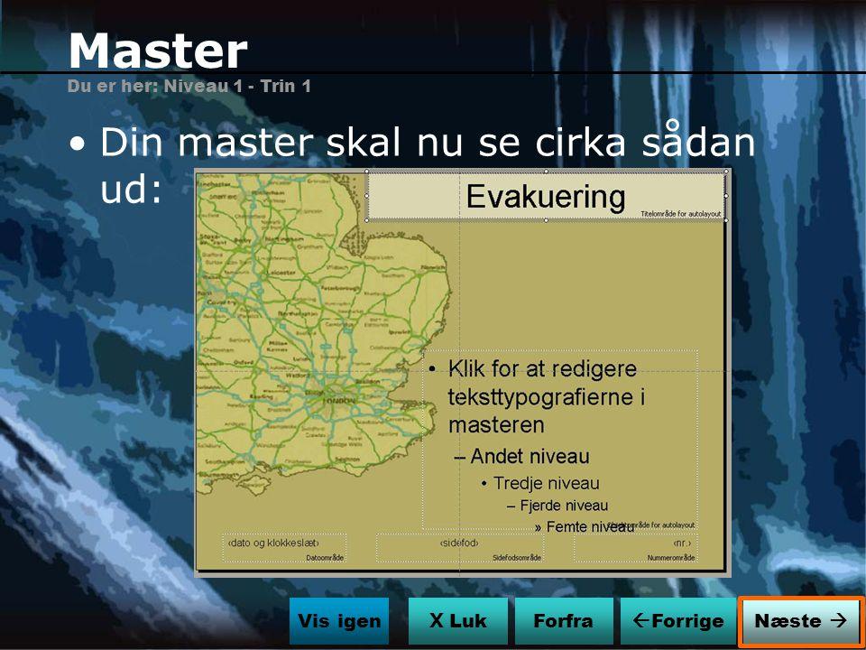 Master Din master skal nu se cirka sådan ud: