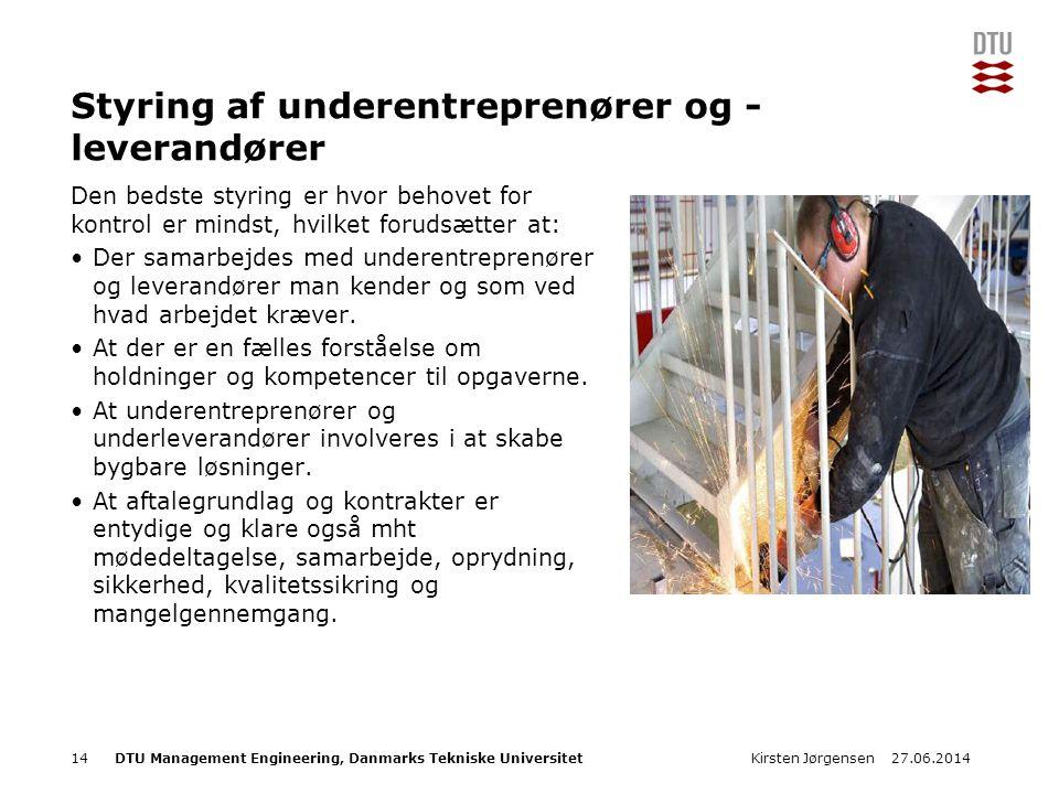 Styring af underentreprenører og - leverandører
