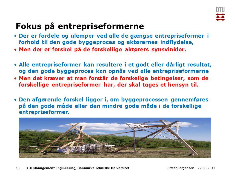 Fokus på entrepriseformerne