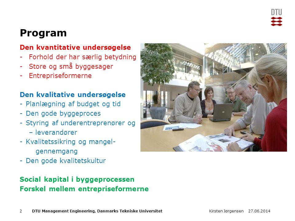 Program Den kvantitative undersøgelse Forhold der har særlig betydning