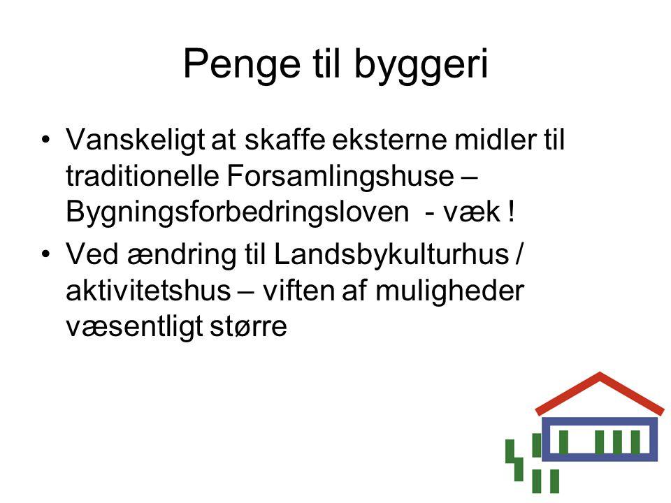 Penge til byggeri Vanskeligt at skaffe eksterne midler til traditionelle Forsamlingshuse – Bygningsforbedringsloven - væk !