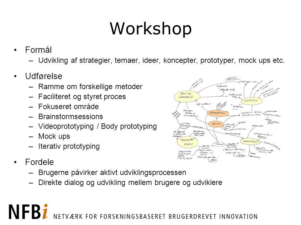 Workshop Formål Udførelse Fordele