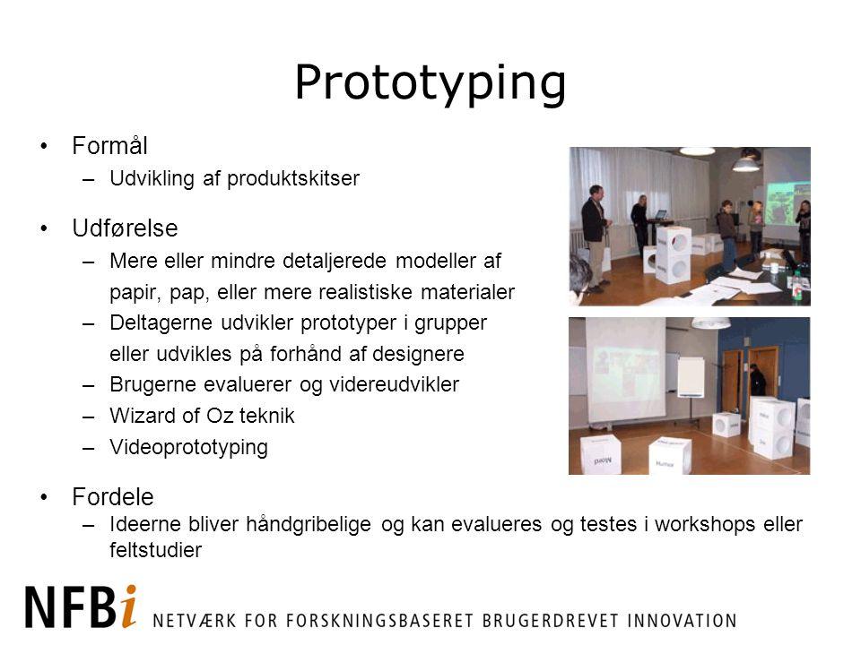 Prototyping Formål Udførelse Fordele Udvikling af produktskitser