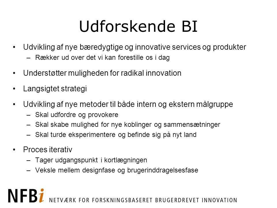 Udforskende BI Udvikling af nye bæredygtige og innovative services og produkter. Rækker ud over det vi kan forestille os i dag.
