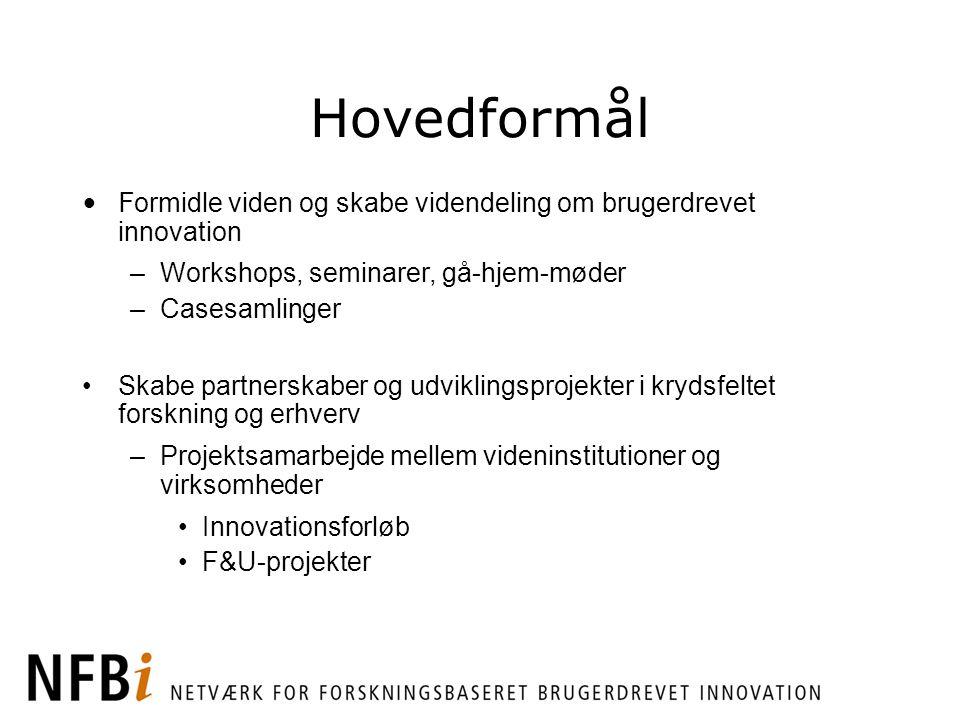 Hovedformål Formidle viden og skabe videndeling om brugerdrevet innovation. Workshops, seminarer, gå-hjem-møder.