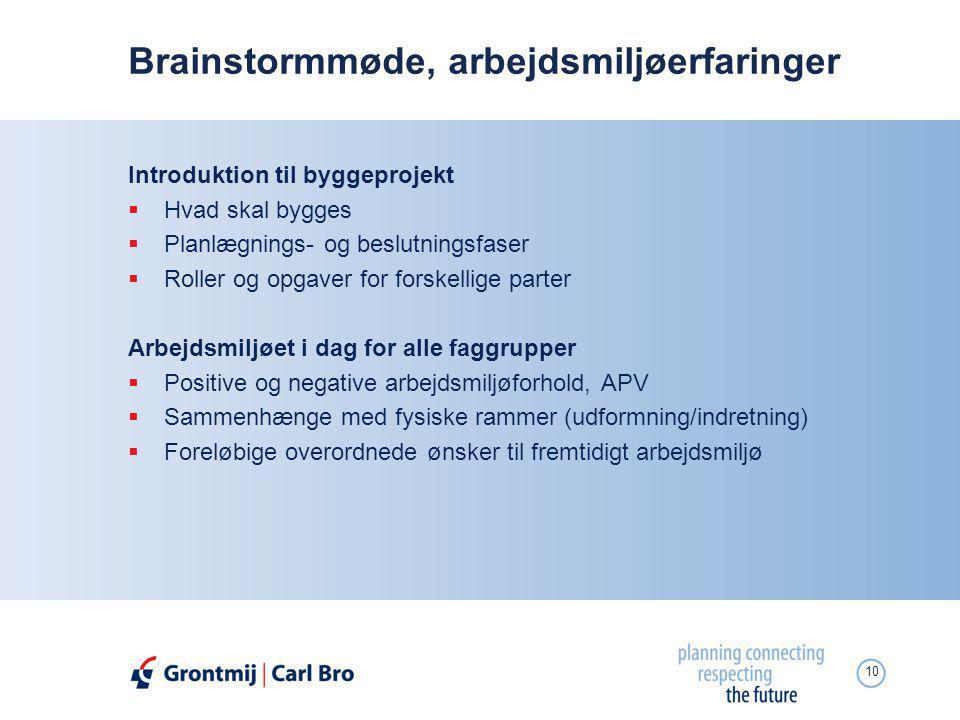 Brainstormmøde, arbejdsmiljøerfaringer