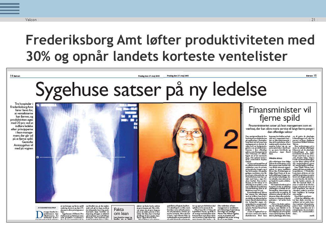Valcon | Frederiksborg Amt løfter produktiviteten med 30% og opnår landets korteste ventelister