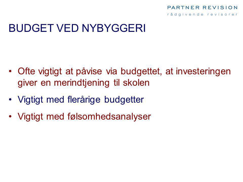BUDGET VED NYBYGGERI Ofte vigtigt at påvise via budgettet, at investeringen giver en merindtjening til skolen.