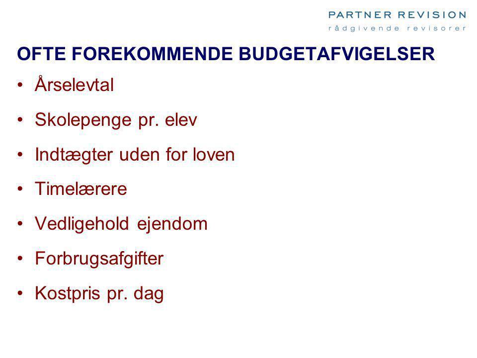 OFTE FOREKOMMENDE BUDGETAFVIGELSER Årselevtal Skolepenge pr. elev