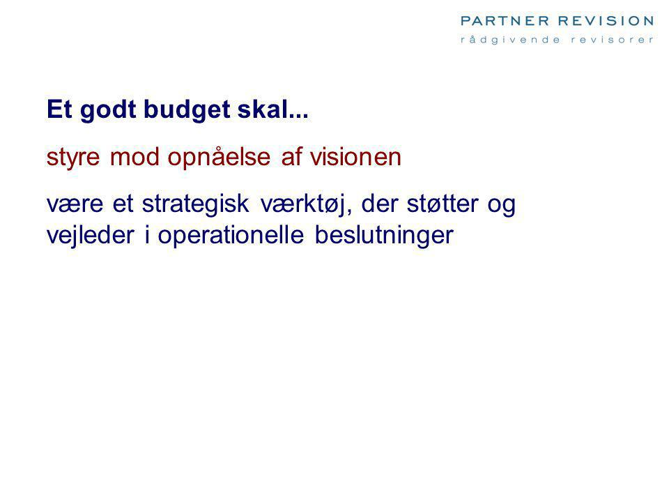 Et godt budget skal... styre mod opnåelse af visionen.