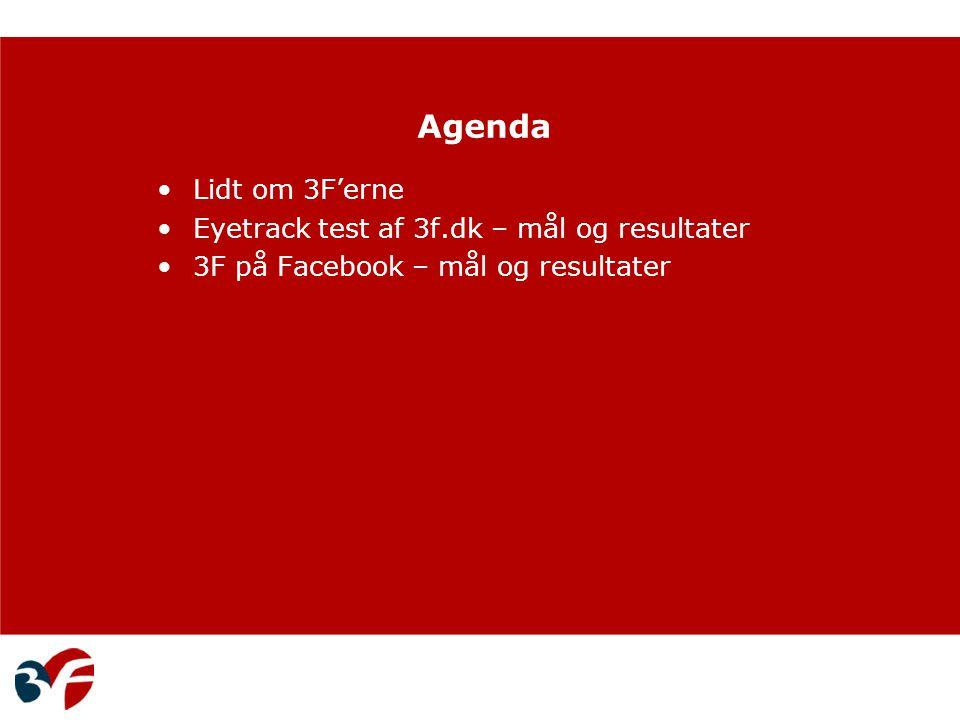 Agenda Lidt om 3F'erne Eyetrack test af 3f.dk – mål og resultater