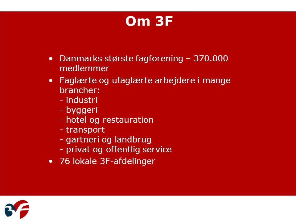 Om 3F Danmarks største fagforening – 370.000 medlemmer