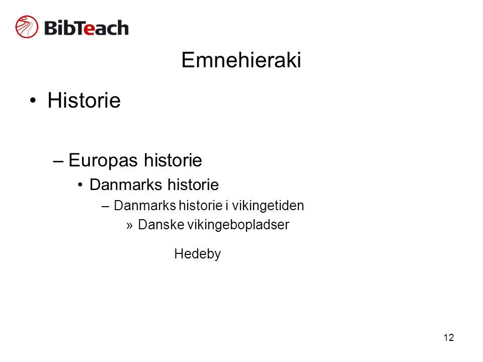 Emnehieraki Historie Hedeby Europas historie Danmarks historie