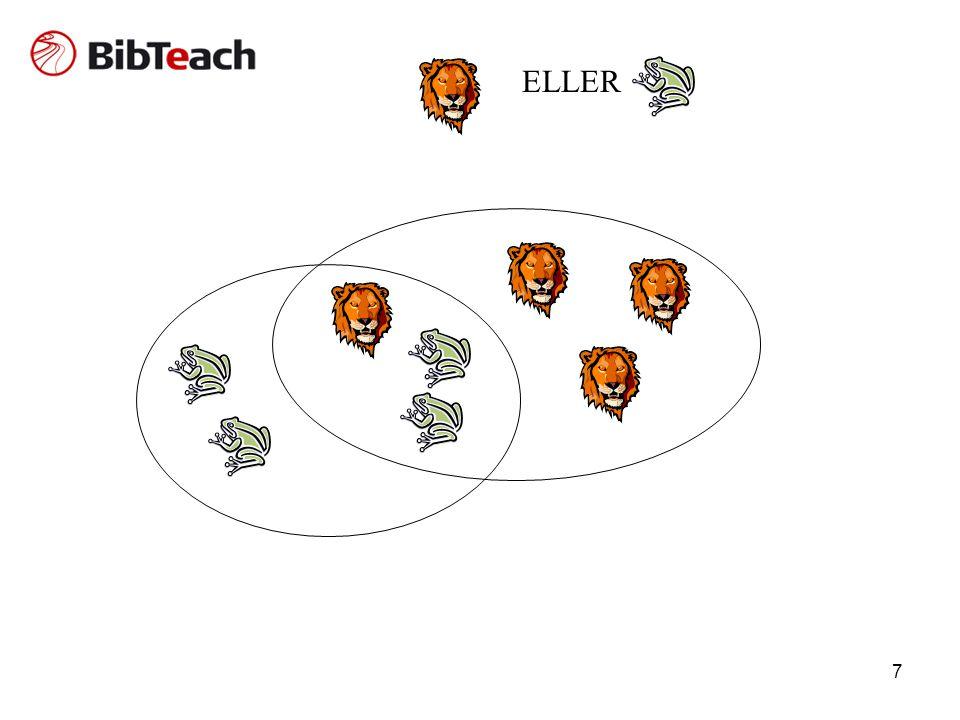 ELLER Beskrivelser hvor ordet frø eller løve findes. Giver et stort resultat.