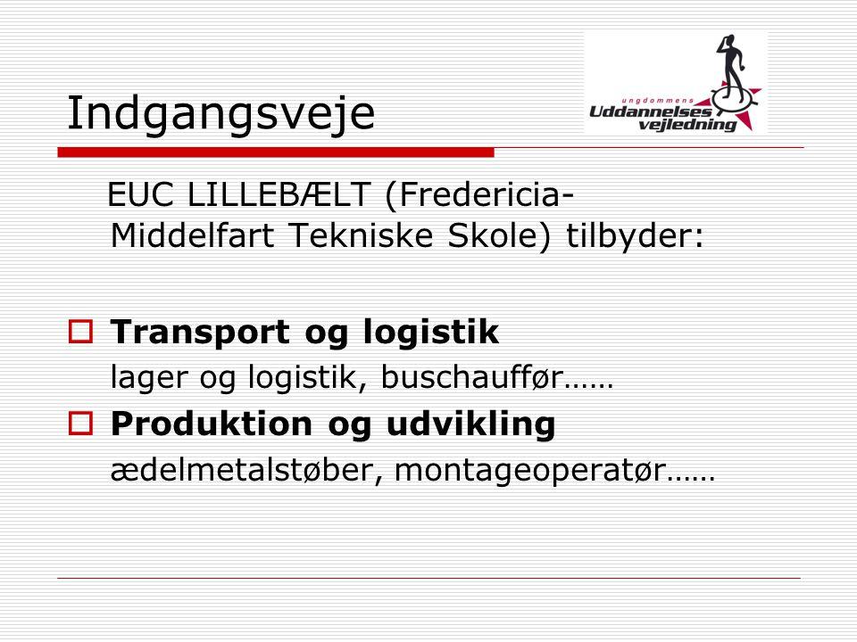 Indgangsveje EUC LILLEBÆLT (Fredericia-Middelfart Tekniske Skole) tilbyder: Transport og logistik.