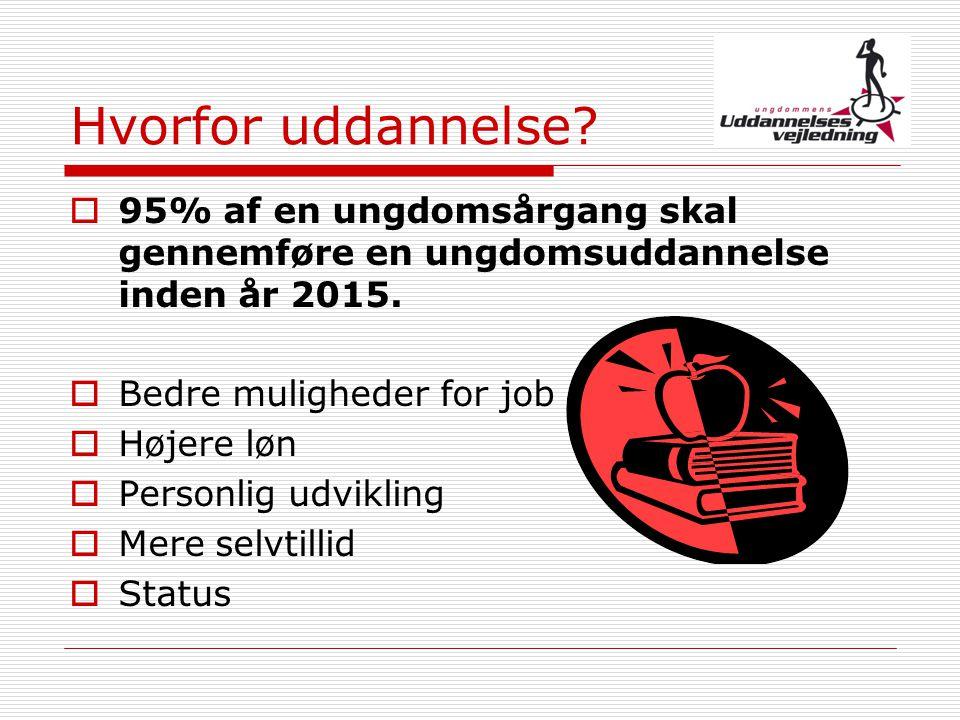 Hvorfor uddannelse 95% af en ungdomsårgang skal gennemføre en ungdomsuddannelse inden år 2015. Bedre muligheder for job.