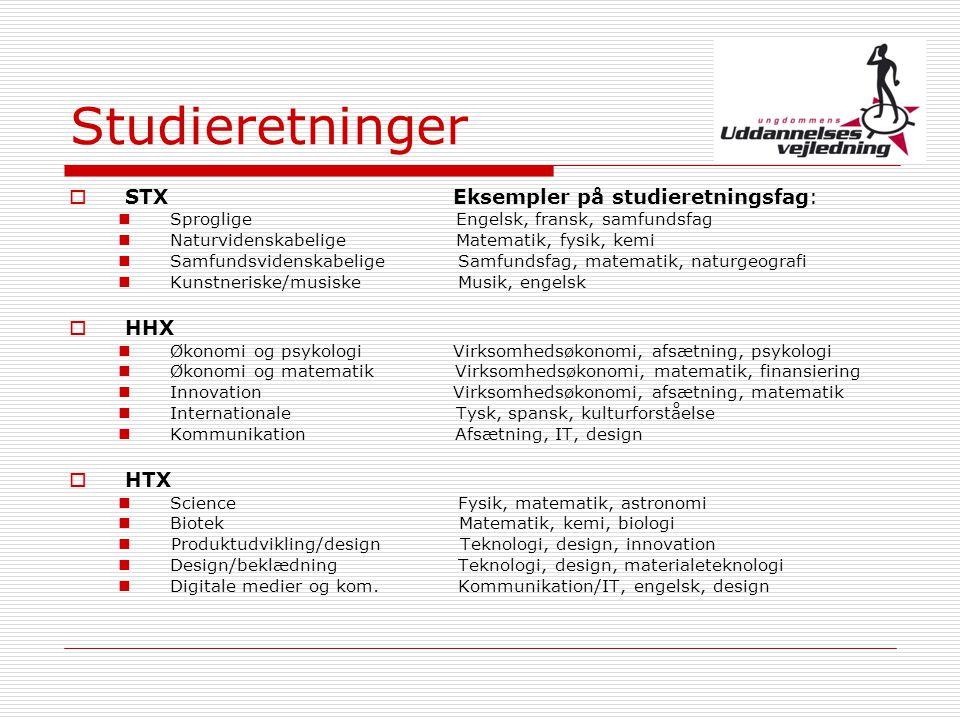Studieretninger STX Eksempler på studieretningsfag: HHX HTX
