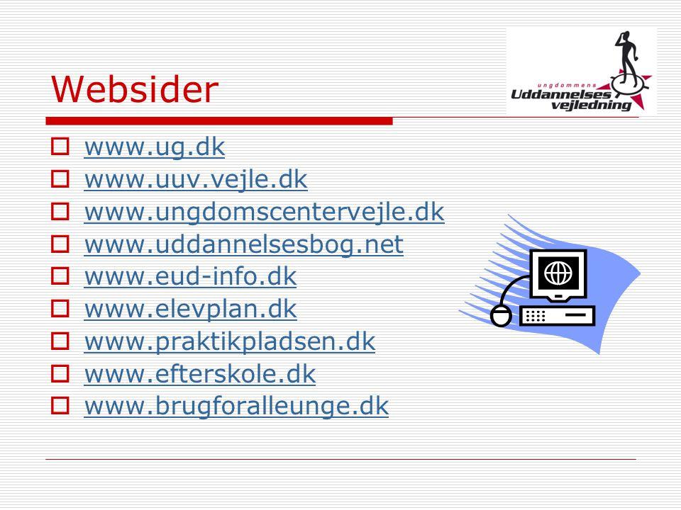 Websider www.ug.dk www.uuv.vejle.dk www.ungdomscentervejle.dk