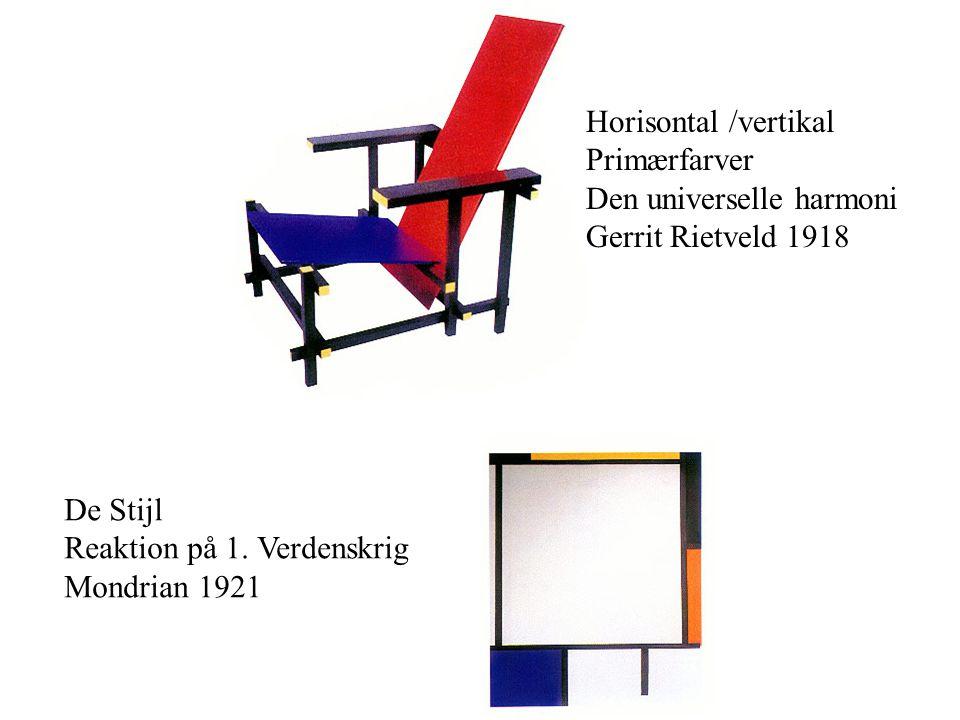 Horisontal /vertikal Primærfarver. Den universelle harmoni. Gerrit Rietveld 1918. De Stijl. Reaktion på 1. Verdenskrig.