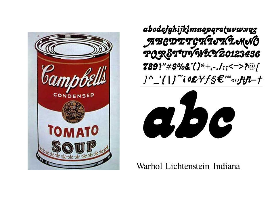 Warhol Lichtenstein Indiana