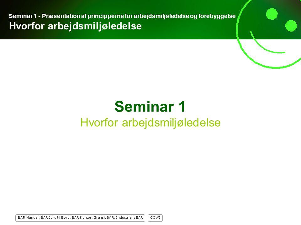Seminar 1 Hvorfor arbejdsmiljøledelse