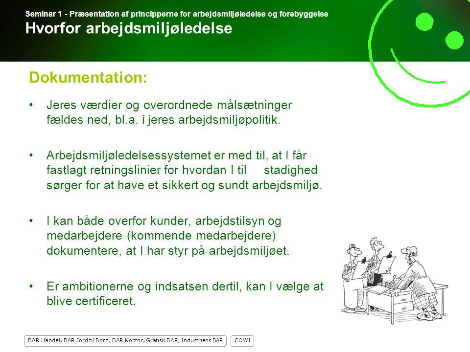 Seminar 1 - Præsentation af principperne for arbejdsmiljøledelse og forebyggelse Hvorfor arbejdsmiljøledelse