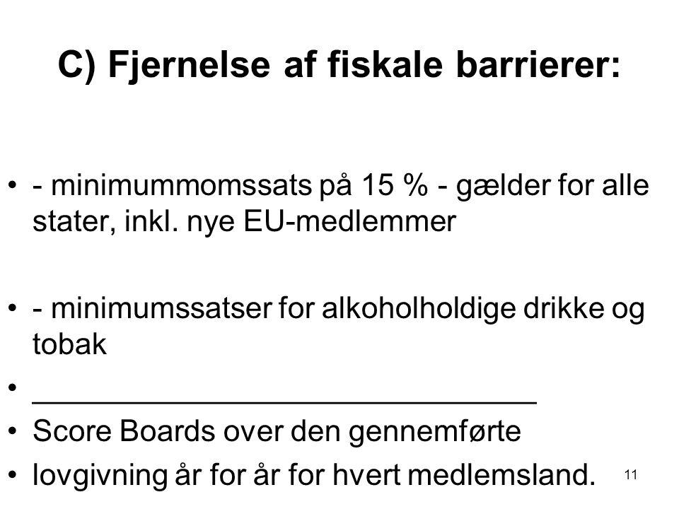 C) Fjernelse af fiskale barrierer: