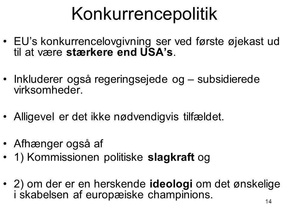 Konkurrencepolitik EU's konkurrencelovgivning ser ved første øjekast ud til at være stærkere end USA's.