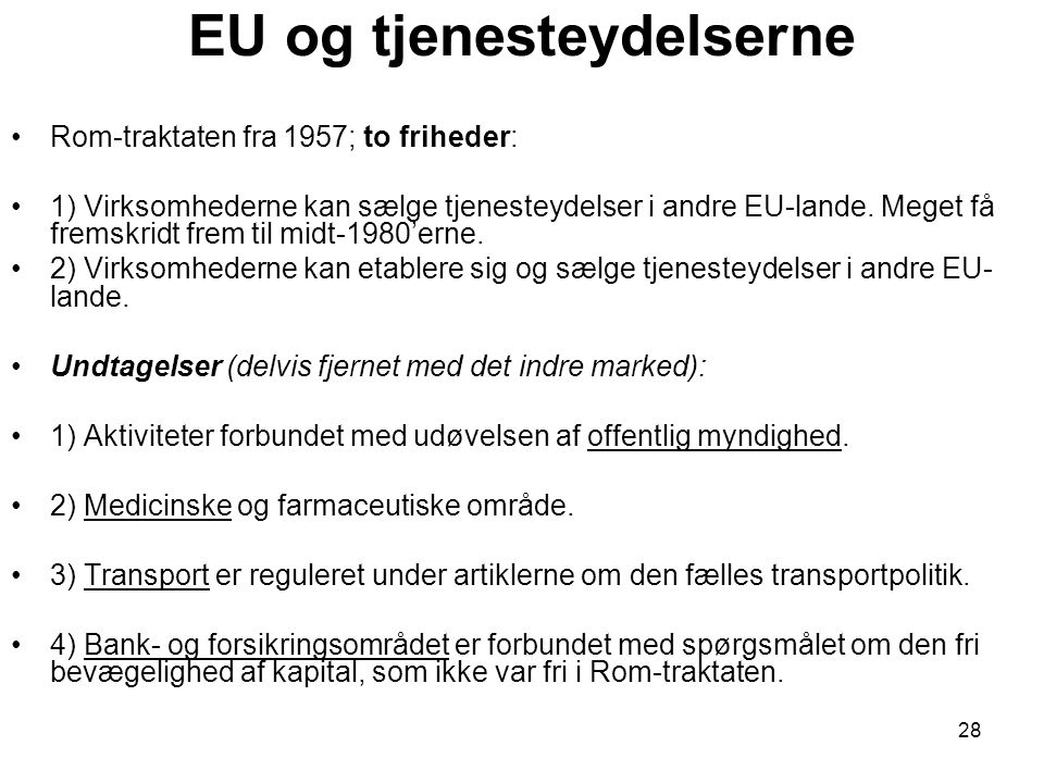 EU og tjenesteydelserne
