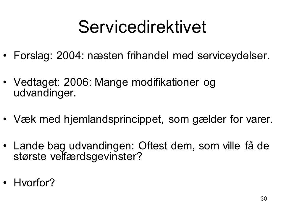 Servicedirektivet Forslag: 2004: næsten frihandel med serviceydelser.