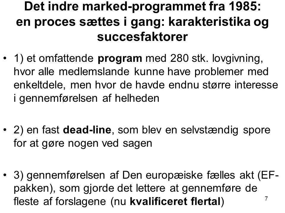 Det indre marked-programmet fra 1985: en proces sættes i gang: karakteristika og succesfaktorer