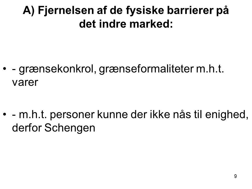 A) Fjernelsen af de fysiske barrierer på det indre marked: