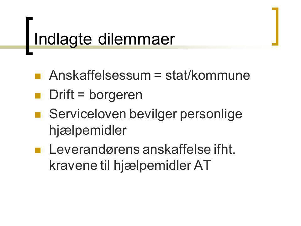 Indlagte dilemmaer Anskaffelsessum = stat/kommune Drift = borgeren