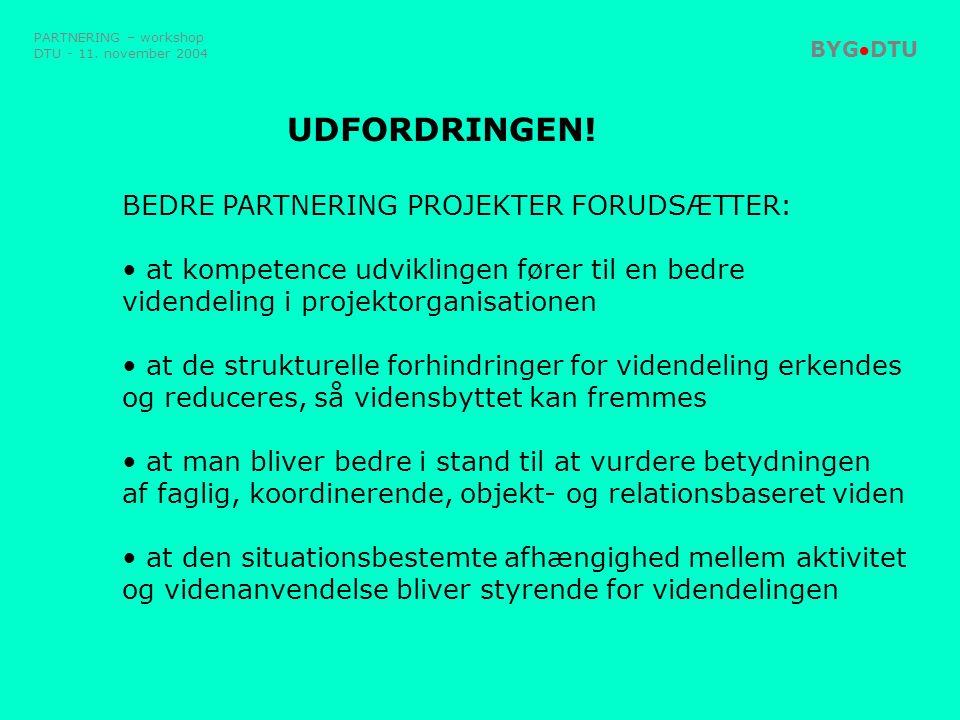 UDFORDRINGEN! BEDRE PARTNERING PROJEKTER FORUDSÆTTER: