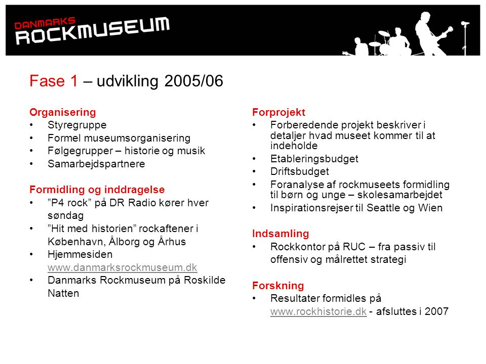 Fase 1 – udvikling 2005/06 Organisering Styregruppe
