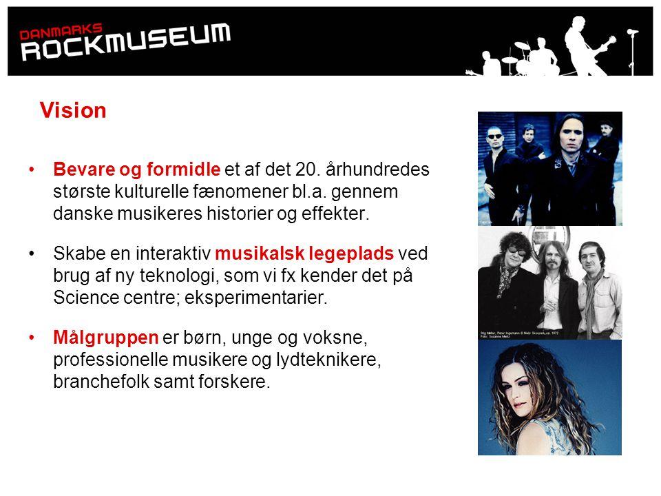 Vision Bevare og formidle et af det 20. århundredes største kulturelle fænomener bl.a. gennem danske musikeres historier og effekter.