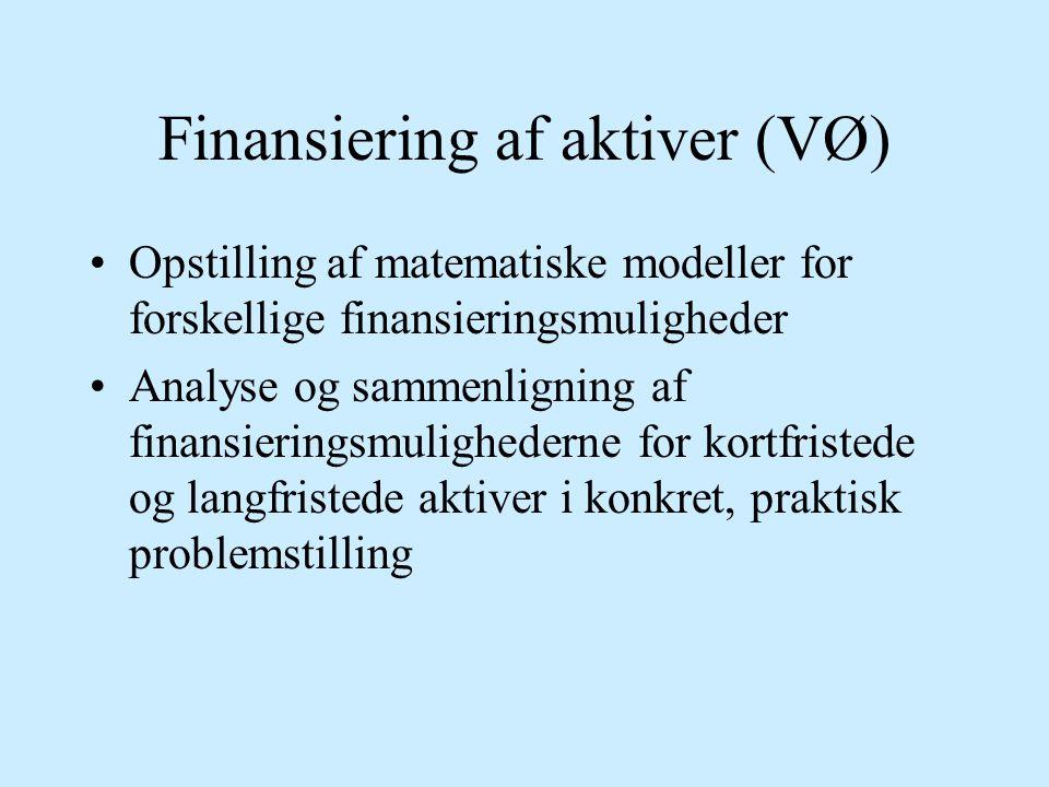 Finansiering af aktiver (VØ)
