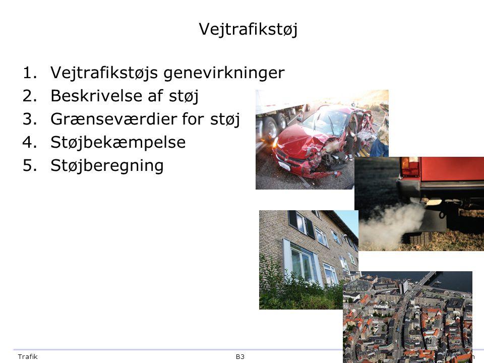 Vejtrafikstøj Vejtrafikstøjs genevirkninger. Beskrivelse af støj. Grænseværdier for støj. Støjbekæmpelse.