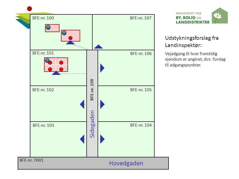Sidegaden Hovedgaden Udstykningsforslag fra Landinspektør: BFE-nr. 100
